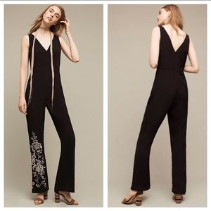 Beautiful black jumpsuit with floral embroidery